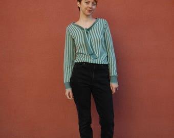 Mod Sweater... Wool Sweater... Striped Sweater... 60s Sweater... Vintage Sweater... Knit Wear... Knit Sweater... Cute Sweater