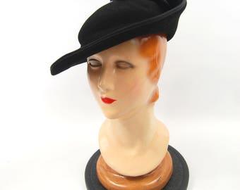 1940s Dramatic Felt Hat - Black Wide Brim 40s - Asymmetrical Upturned Brim - Made in USA Merrimac