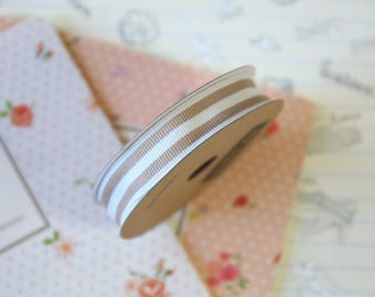 Beige Brown & Cream Stripe Grosgrain ribbon
