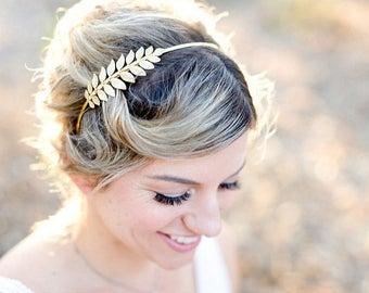 Golden Goddess Laurel Leaf Headband – Bridal Hair Accessories, Wedding Hair, Hair piece, Bridal, Boho Headpiece, boho wedding, bridesmaid
