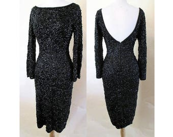 """On Hold Stunning 1950's Designer Hand Sequined and Beaded Hourglass Party Dress by """"Gene Shelly"""" with plunging back pinup girl size Small"""