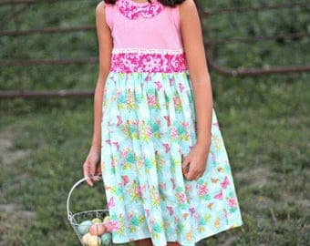 Blue Ribbon Dress PDF Sewing Pattern, including sizes 12 months-14 years, Girls Sewing Pattern