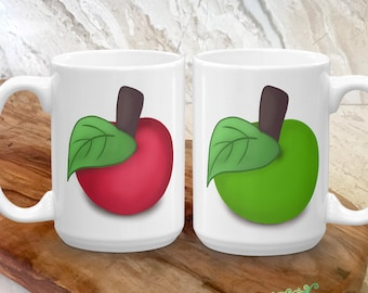 Apple Coffee Mug - Gift Idea for Kids, Teachers - Apple Coffee Cup - Red Delicious, Granny Smith - Fruit Lover Gift Idea - Gift for Her, Him
