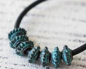 Mykonos Beads - Bali Spacer Disk - Mykonos Green Patina Beads - 6.5mm Coil Beads - Jewelry Making Supply - Made In Greece - Choose Amount