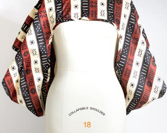 African Print Shrug Mudcloth Print  - One Size