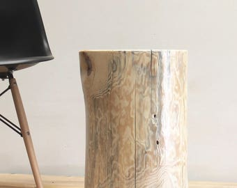 Light White Stump End Side Table