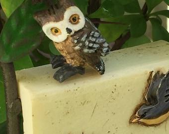 Miniature Owl, Mini Brown Owl Figurine, Dollhouse Miniature, 1:12 Scale, Mini Bird, Owl Figurine, Dollhouse Accessory, Crafts, Topper