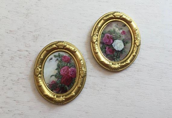 Miniature Framed Rose Pictures, Artwork, Wall Decor, Dollhouse Miniatures, 1:12 Scale, Dollhouse Accessory, Mini Gold Framed Pictures