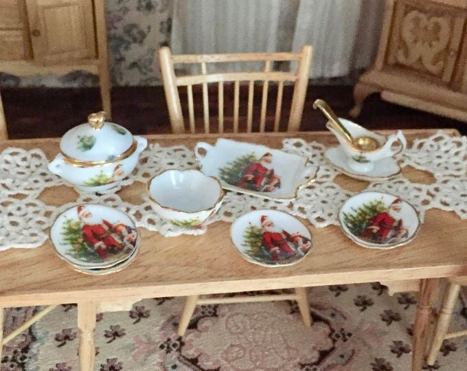 Featured listing image: Christmas Santa Dinner Set by Reutter Porcelain, 8 Piece Set, Gold Trimmed Porcelain Dishes, Dollhouse Miniature, 1:12 Scale