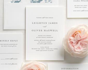 Leighton Letterpress Wedding Invitations - Deposit