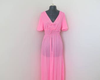 """1970s Bubblegum Pink V-Neck Nightgown - Union Made - Bust up to 36"""""""