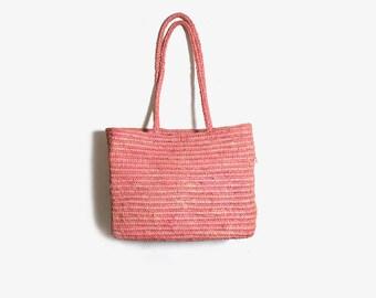 Vintage Market Bag / Pink Market Tote Bag / Pink Straw Purse / Basket Purse / Woven Tote Bag / Raffia Tote Bag