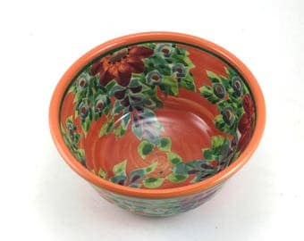Handmade Cereal Bowl - Floral Ceramic Pottery Bowl with Orange Background and Flowers - OOAK