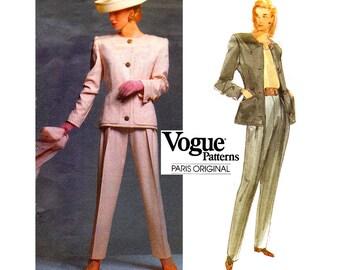Vogue Paris Original 2643 GIVENCHY Womens Designer Jacket & Pants 90s Vintage Sewing Pattern Size 6 8 10 or 12 14 16 UNCUT Factory Folded