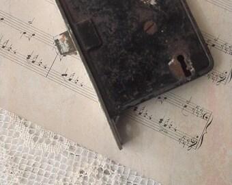 Antique Rustic Mortise Lock. Victorian Entry Door Rim Box Lock.  Architectural Salvage Door Lock Hardware.