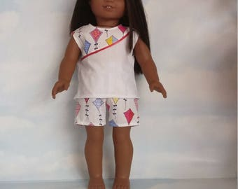 18 inch doll clothes - Colorful Kites Shorts and Top handmade to fit the American girl doll - Free Shipping USA