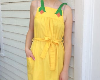 70s Yellow Summer Dress Casual Vintage S XS