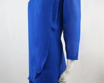 Vintage Royal Blue Dress Discovery Gold Clothing Company 80s Made in Australia Size 16