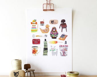 A4 Giclee Art Print - Collection of Studio Knick-Knack and Decorative Objects