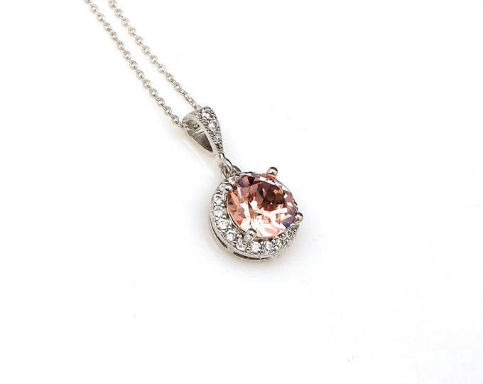 Bridal necklace bridesmaid wedding gift Sterling silver necklace round swarovski vintage rose blush pink rhinestone cubic halo pendant