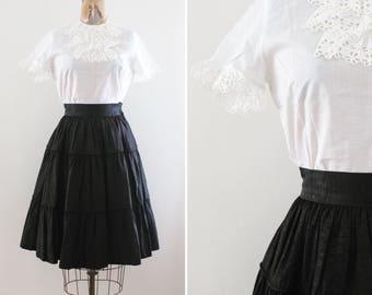 1950s White Blouse Medium - Cotton - Vintage Lace Blouse - Short Sleeves - Midcentury - Rockabilly Pinup True Vintage Lace Trim Eyelet