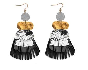 Black Fringe Earrings, Tassel Earring, Grey Leather Earrings, Geometric Earrings Metallic Gold Earrings, Marbled Earrings, Statement Earring