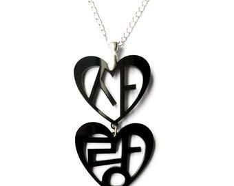 Love in Korean Hangul Statement Necklace (Sarang) Black Ivory, Wedding Gift For Her, Korean Bridal Shower, Korean Anniversary Present, Xmas