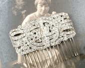 Vintage Hair Accessories: Combs, Headbands, Flowers, Scarf, Wigs OOAK 1930 Art Deco Bridal Hair CombVintage Wedding Dress Sash BroochPaste Rhinestone Silver Antique 1920 Hairpiece Great Gatsby Headpiece $109.99 AT vintagedancer.com