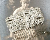 1930s Jewelry | Art Deco Style Jewelry OOAK 1930 Art Deco Bridal Hair CombVintage Wedding Dress Sash BroochPaste Rhinestone Silver Antique 1920 Hairpiece Great Gatsby Headpiece $109.99 AT vintagedancer.com