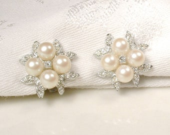 PRISTINE Ivory Pearl & Rhinestone Bridal Earrings, Vintage Art Deco Pave Crystal 1920's Wedding Earrings Silver Pearl Cluster Clip On Back