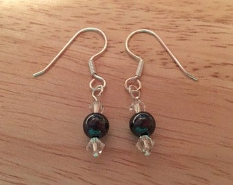 Handmade Swarovski Crystal and Sterling Silver earrings with black gass bead