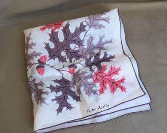 Vintage Handkerchief, Vintage 60s' Hankie, Cotton Handkerchief, Mauve and Pink Autumn Leaves by Faith Austin, Retro 50's style, Acorns