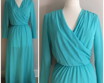 Turquoise 70s Dream Dress // Henry Lee Blue Gown // Long, Elegant, Dress // 1970s // 50