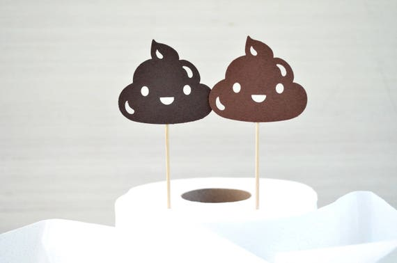 Poop Emoji Cupcake Toppers - Choose from plain or glitter card stock. Colors include Brown, Black, Gold, Bronze, Hot Pink, Purple, and more!