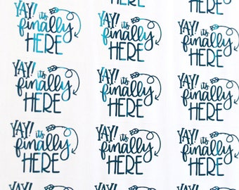 ELECTRIC BLUE FOIL - Yay it's finally here! handlettered stickers - foil stickers for packaging, party invitations, care packages
