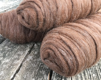 Undyed roving huacaya alpaca in 'Milk Chocolate S'mores' natural colorway