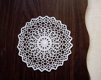 Geometric Table Decor Crochet Lace Doily, Minimalist Design, Modern Home Decor, New, Fiber Art, White, 10 Inch Doily, Sophisticated Decor