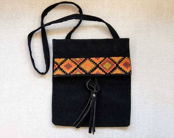 Tribal Shoulder Bag, Ethnic Handbag, Black Faux Suede Purse, Boho Embroidered Bag, Vintage 1960s, Envelope Style, Chic Accessory