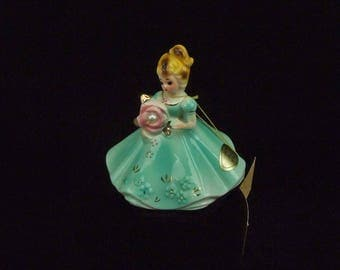 Vintage Josef Original Lady Figurine June Birthday Pearl PInk and Light Sea Green Porcelain Hang Tag and Label