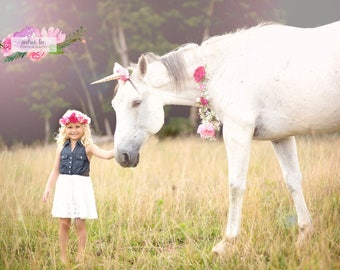 shades of pink gold unicorn horn flower crown halo and floral necklace for horse pony accessory photography prop