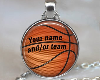 Custom Basketball necklace, gift for basketball player basketball coach gift team gift personalized sports necklace key chain key ring