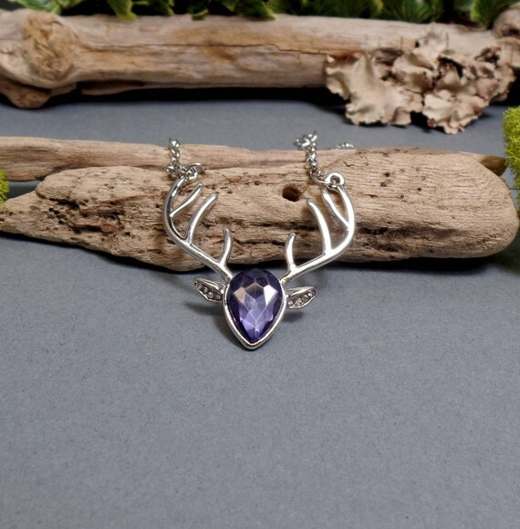 Purple Cubic Zirconia Deer Necklace - Silver Deer Necklace - Antler Necklace - Purple Zirconia Deer - Reindeer Necklace - Free US Shipping