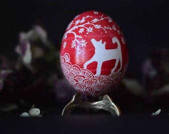 Chinese Dog ornament - real chicken egg Pysanka with Dog Lenturns and Sakura drawing, Happy New Year in Chinese culture 2018 February 16