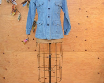 Vintage 70's Button Up Denim Jean Coat In Very Light Blue, Strong 70's Vibe SZ Small