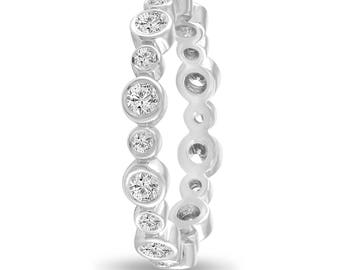 Platinum Bubble Eternity Ring, Diamond Wedding Band, Anniversary Ring, Stackable Band 0.55 Carat Bezel Set handmade