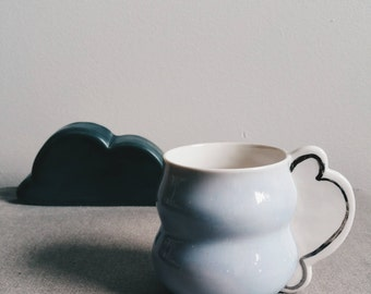 EVERY CLOUD - Wheel thrown mug with cloud handle.  Cloud with silver (white gold) lining.  Cloud mug.  Cute cloud design mug.