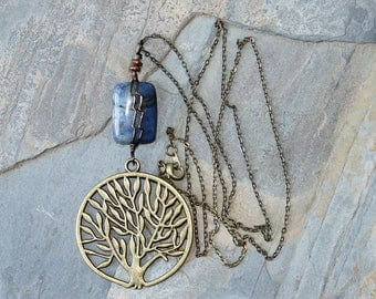 Tree of Life Necklace, Sodalite Necklace, Natural Stone Necklace, Wire Wrapped Necklace, Blue Necklace, Tree Jewelry, Life Jewelry, For Her