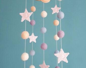 Moon Baby Mobile Stars Nursery Decor Space Baby Mobiles Hanging Felt Balls Mobile Planets Crib Mobile Natural Girl Decor Baby Shower Gift