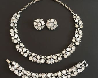 Vintage Wedding Jewelry Set, Vintage Jewelry, Lisner Necklace, Bracelet and Clip On Earrings, Rhinestone Bridal Jewelry, Lisner Jewelry