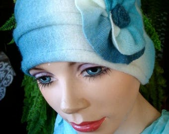 womens hat soft hat cashmere lambswool blend  ooak blue womens chemo hat headcover cosy hat